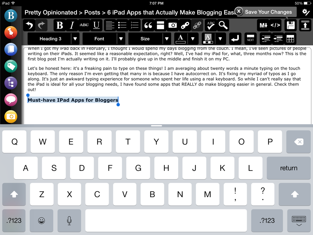 BlogPad Pro is the only app I recommend for writing blog posts