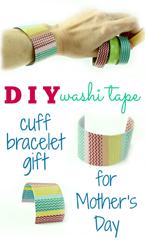 DIY washi tape cuff bracelet gift for mother's day craft tutorial  (1)