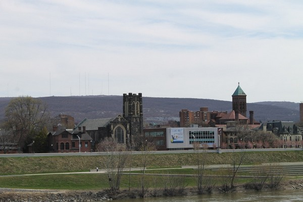 The view of downtown Wilkes-Barre and King's College is gorgeous from the Market Street Bridge! #sponsored by @Ascend Hotel Collection #GoNative