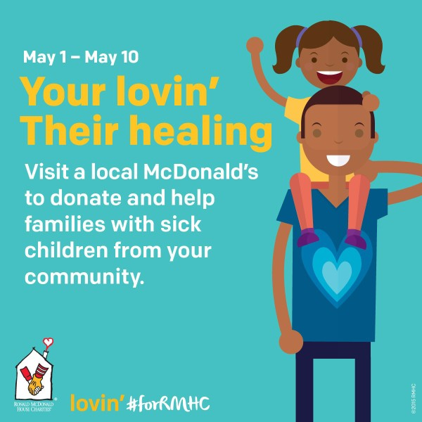 Show Your Lovin' #forRMHC & Support Families of Sick Children| Supporting Ronald McDonald House Charities is as easy as heading to your favorite McDonalds location and buying a paper heart for $1, $3 or $5 from now until May 10.