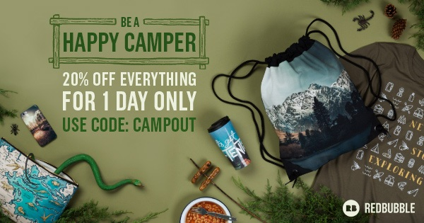 Save 20% Site-Wide with Redbubble's Camp Outside Sale!