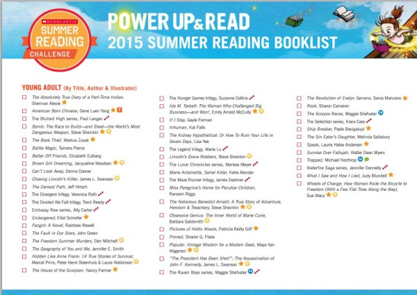 Scholastic YA Summer Reading List