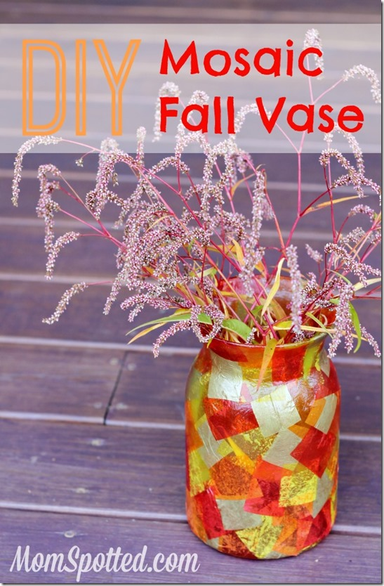 fall diy craft vase mosaic autumn easy podge crafts decor modge tutorial mod inexpensive spotted mom statement paper stunning fun