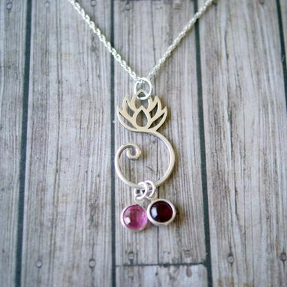 simpli stamped lotus_birthstone_necklace
