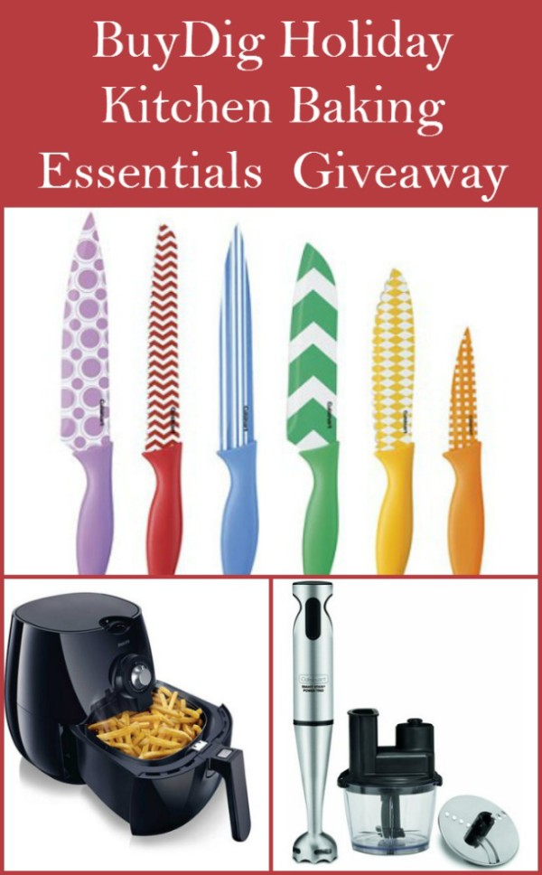 Enter for a chance to win a kitchen gadgets prize pack from BuyDig worth about $250! Includes AirFryer, set of beautiful Cuisinart knives with knife guards and a Cuisinart Stick Blender with chopper attachments!
