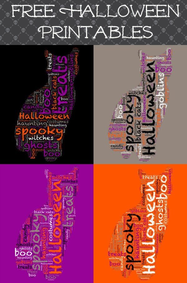 Fun little free Halloween word art printable in a the shape of a cat. Comes in 5 colors, so it matches any Halloween decor theme!