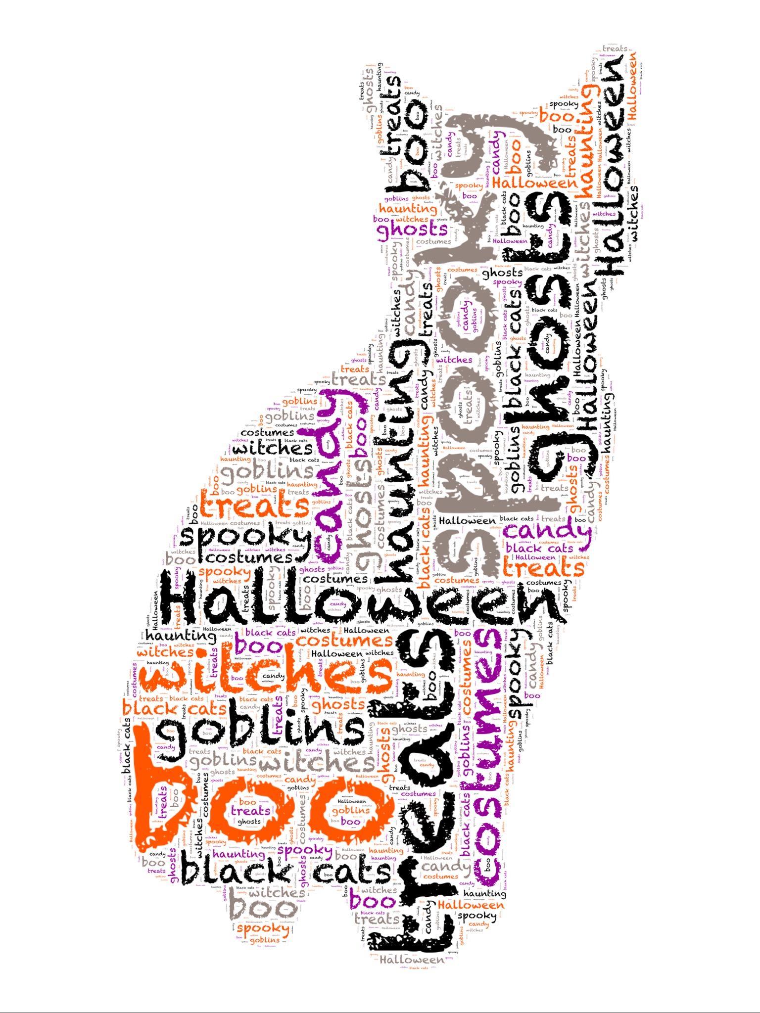 Printable Halloween Cat Word Art (in 5 Different Colors