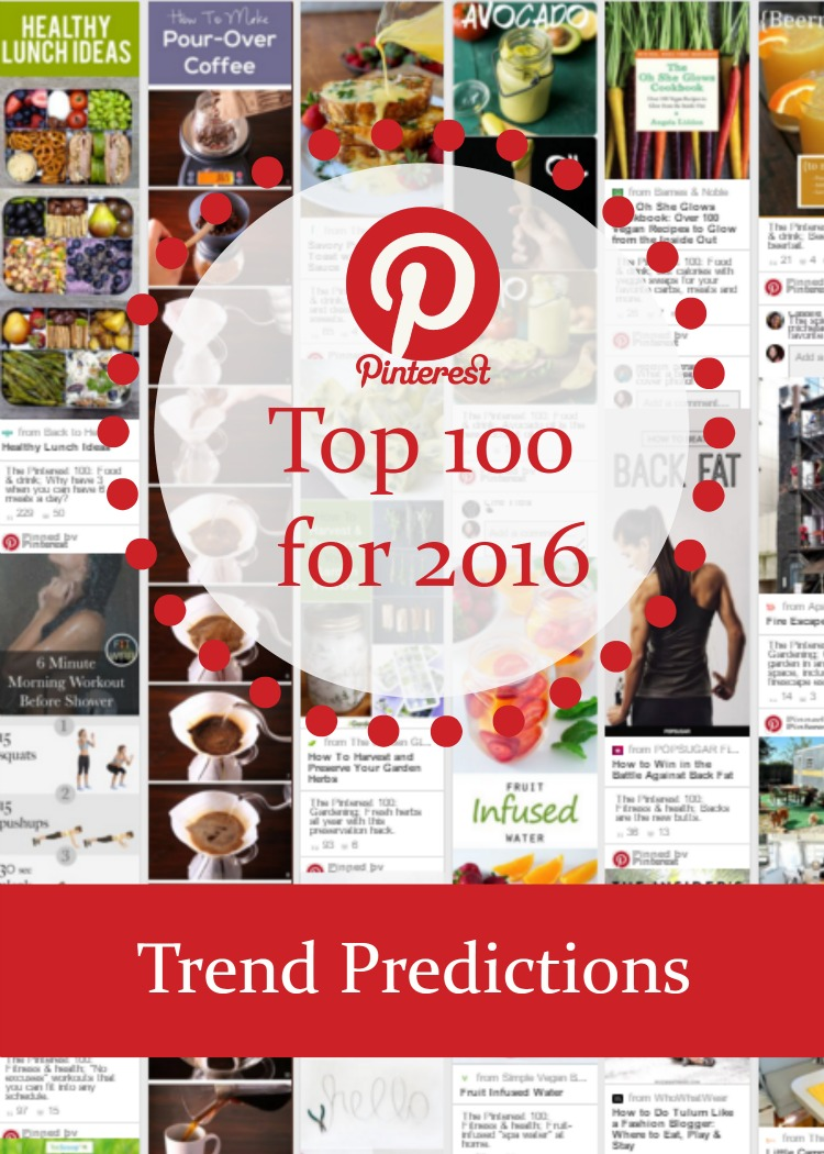 Wondering what will be trending on Pinterest during 2016? Everyone's favorite photo site released the Pinterest Top 100 for 2016, with the top ten pins across the top ten categories.