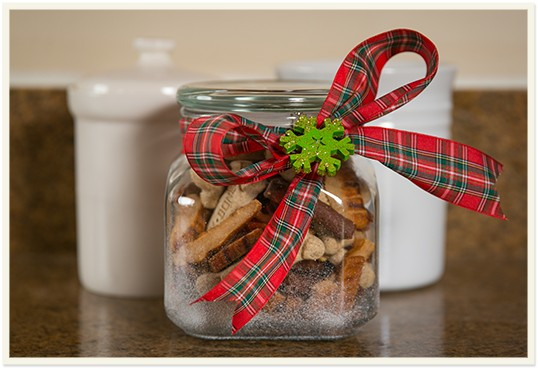 Fun Tips & DIY Ideas for Celebrating the Holidays with Your Dog: Make a holiday sweet treat jar!