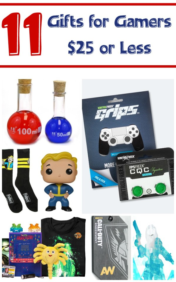 "These 11 gift ideas for gamers come in at $25 or less, so they won't bust your budget! They're perfect for holidays, birthdays or just to say ""hey, great job on that A at school!"""