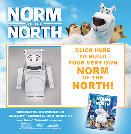 Celebrate the release of Norm of the North on Digital HD with fun clips and a free Build Your Own Norm papercraft printable! Check it out!