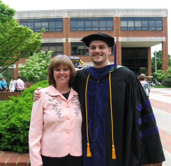 My mom with my brother the day he graduated from law school.