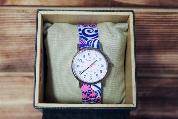 The Weekender Reversible Floral watch has a reversible strap, so it's like two watches in one.