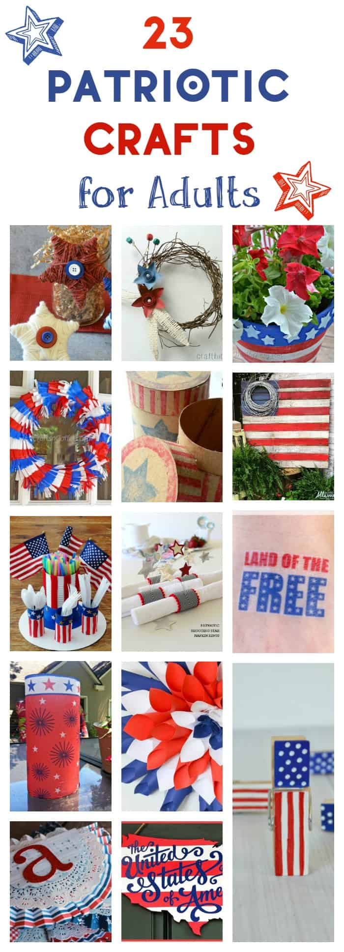 Want to give your home a patriotic makeover without spending a fortune? Make decorations yourself! Check out 23 charming patriotic crafts for adults that are perfect for the 4th of July!