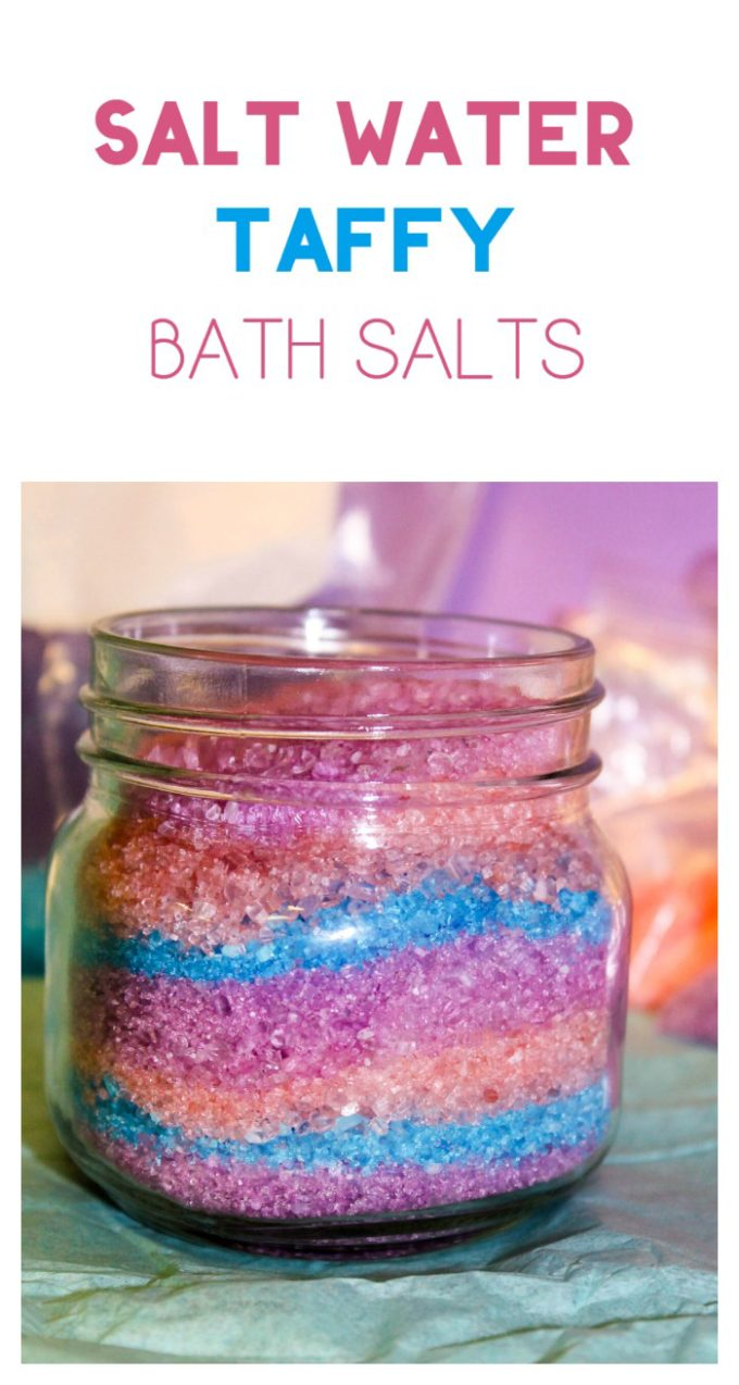 Bring back your favorite summer memories at the beach with this bath salt recipe inspired by salt water taffy! I used lemon, orange and vanilla scents in mine. Check it out!