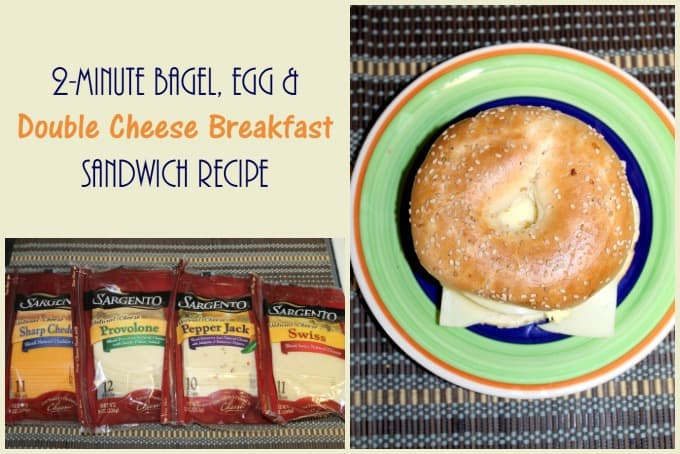 2-Minute Bagel, Egg & Double Cheese Breakfast Sandwich Recipe with Sargento #RealCheesePeople