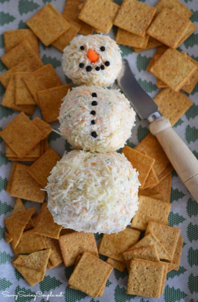 7 Of The Best Holiday Buffet Recipes- Snowman Cheeseball