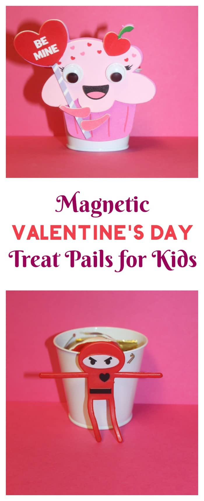 Make a DIY magnetic Valentine\'s Day treat pail for kids in just minutes. Makes for great party favors too!