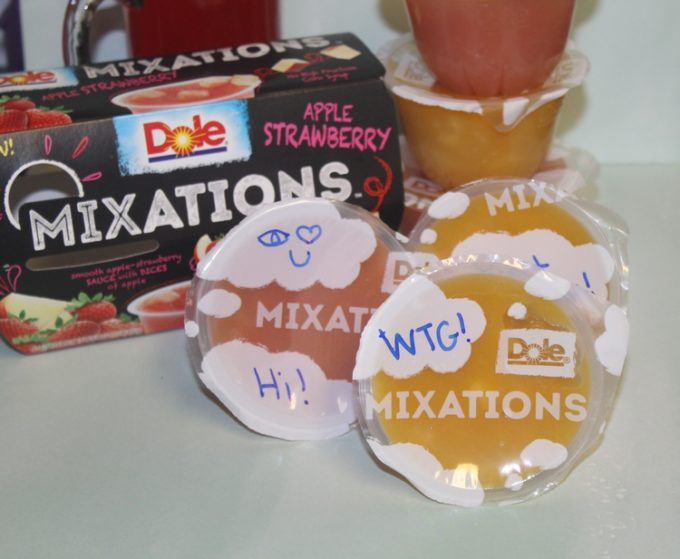 Boost your tween's confidence without embarrassing him with subtle lunch box notes on DOLE Mixations lids!