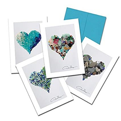 9 Gorgeous Stationery Sets That Will Make You Bring Back the Art of Letter Writing- Sea Glass Hearts Cards