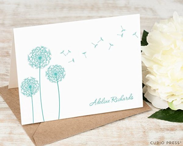 9 Gorgeous Stationery Sets That Will Make You Bring Back the Art of Letter Writing- Dandelions Blowing Personalized Stationery Set