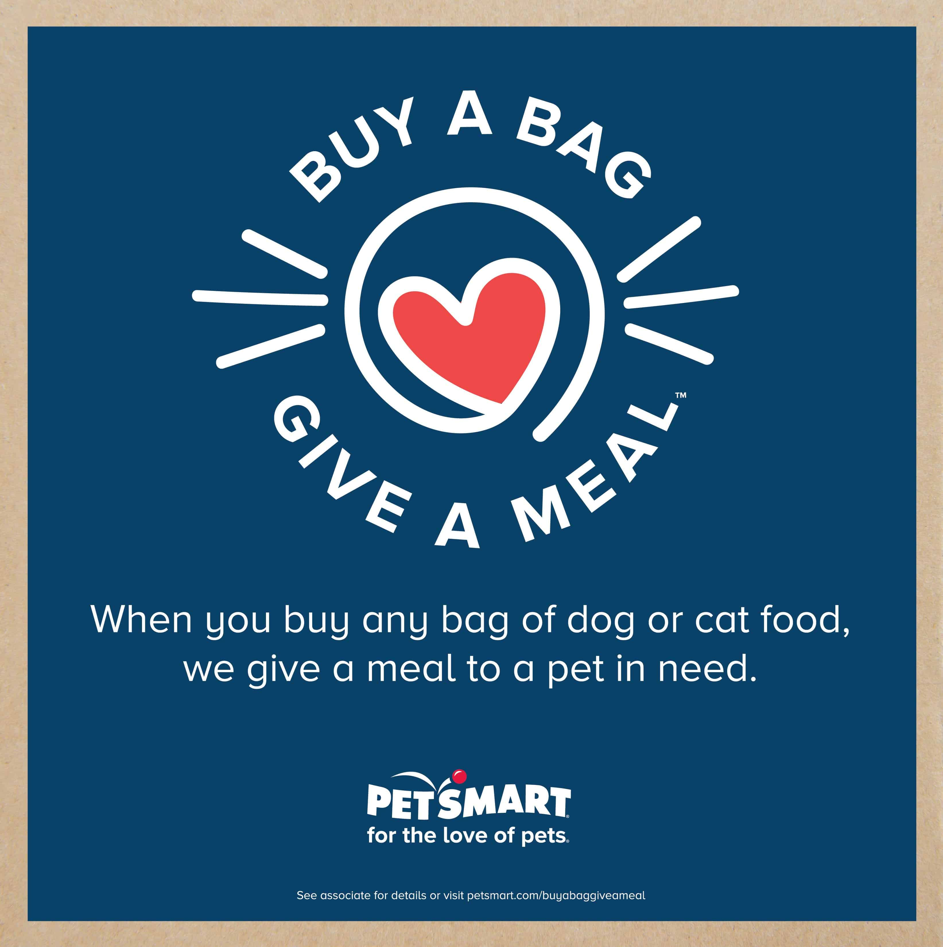 PetSmart celebrates 30 years with their biggest philanthropic campaign ever! Find out how you can help animals in need with Buy a Bag, Give a Meal™