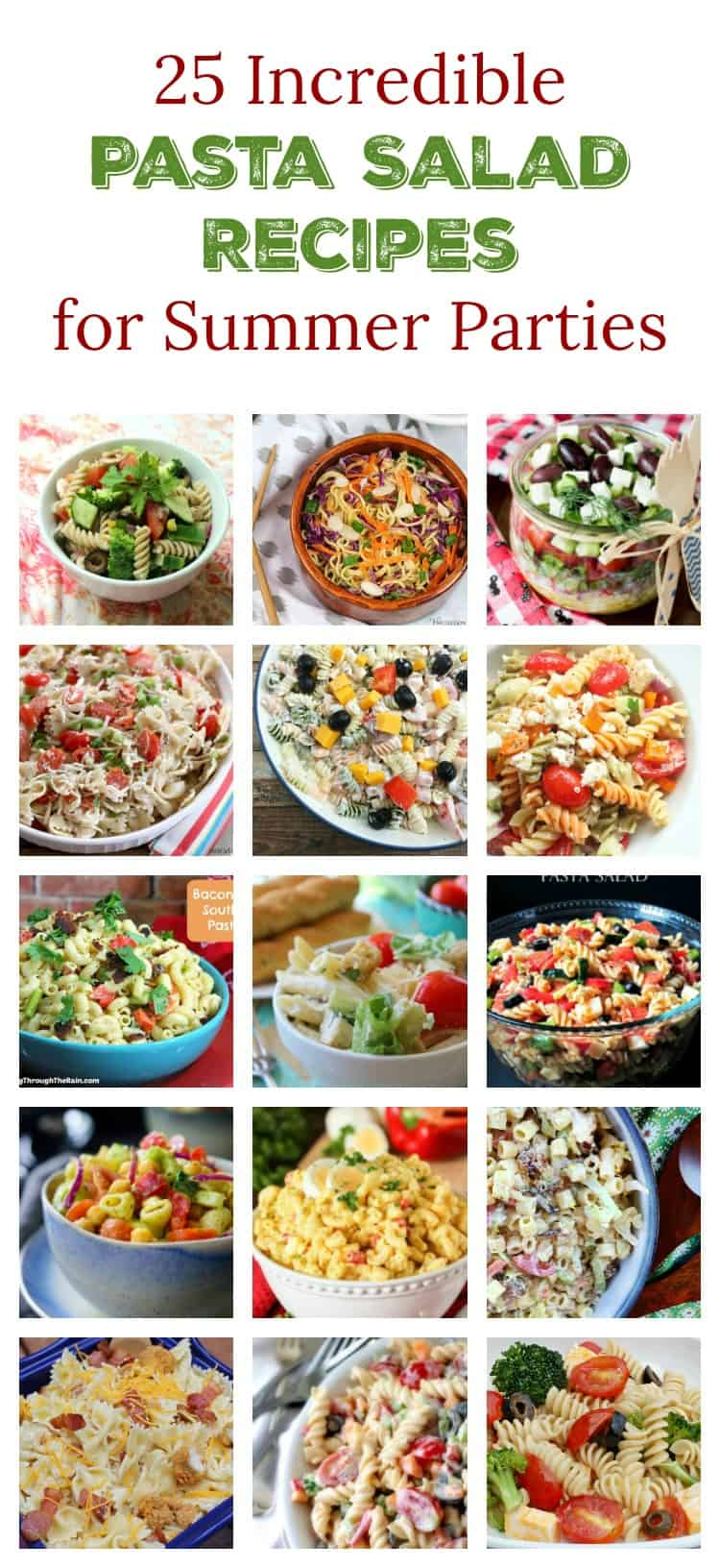 Pasta salad just screams summer party, doesn\'t it? I\'m loving these 25 perfect pasta salad recipes! I can\'t wait to try them all during my backyard BBQs!