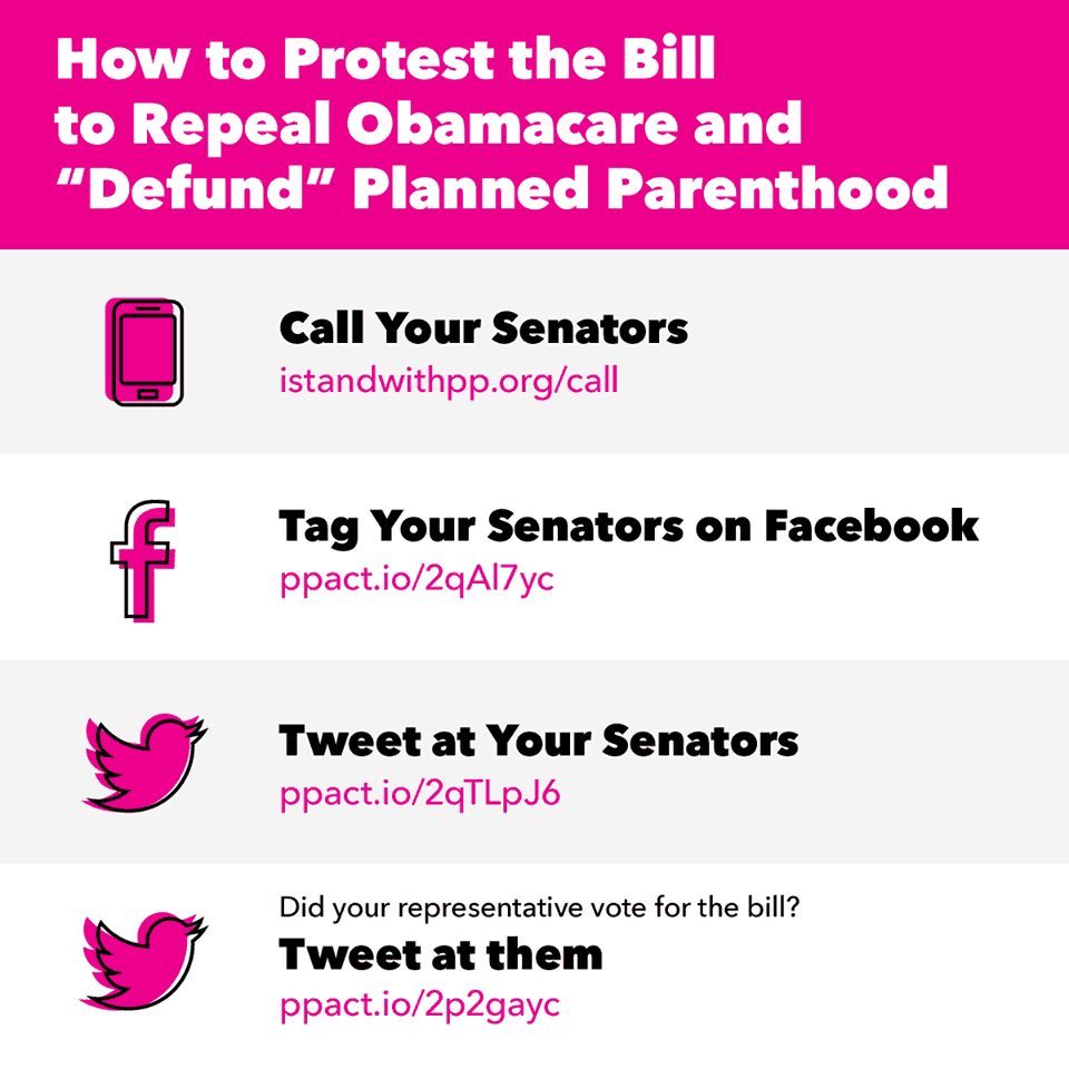 "4 ways to protest the Bill to Repeal Obamacare and ""Defund"" Planned Parenthood"