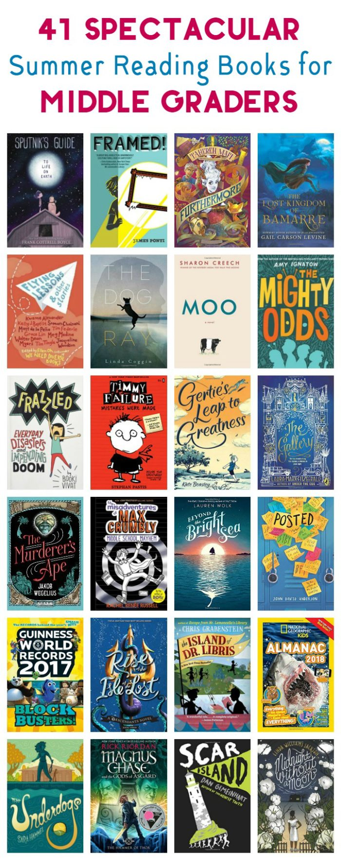 Looking for perfect book ideas for your tweens? Check out my 2017 middle grade summer reading list with 41 great ideas across every genre!