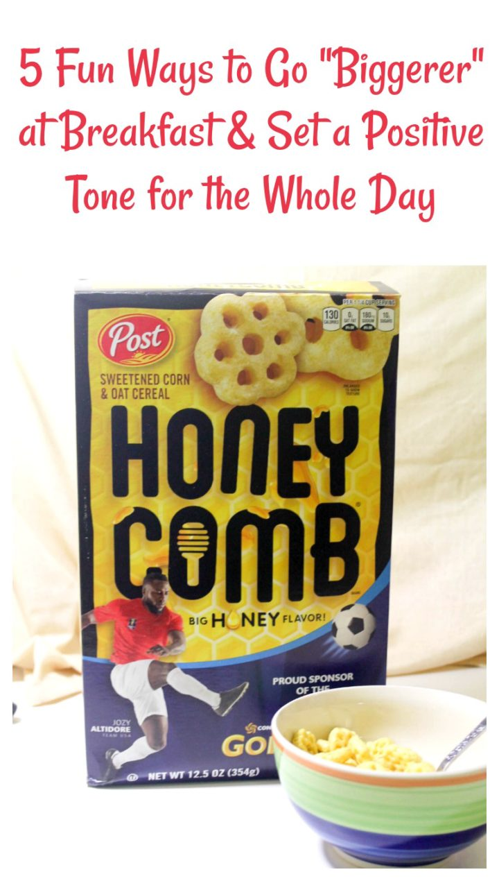 "Check out 5 fun ways to ""Think Biggerer"" at breakfast and set a positive tone for the whole day, plus get a fun meal on the table fast with Honeycomb cereal!"