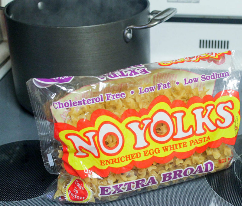 Get dinner on the table in just about 10 minutes with this easy cheesy No Yolks noodle recipe!