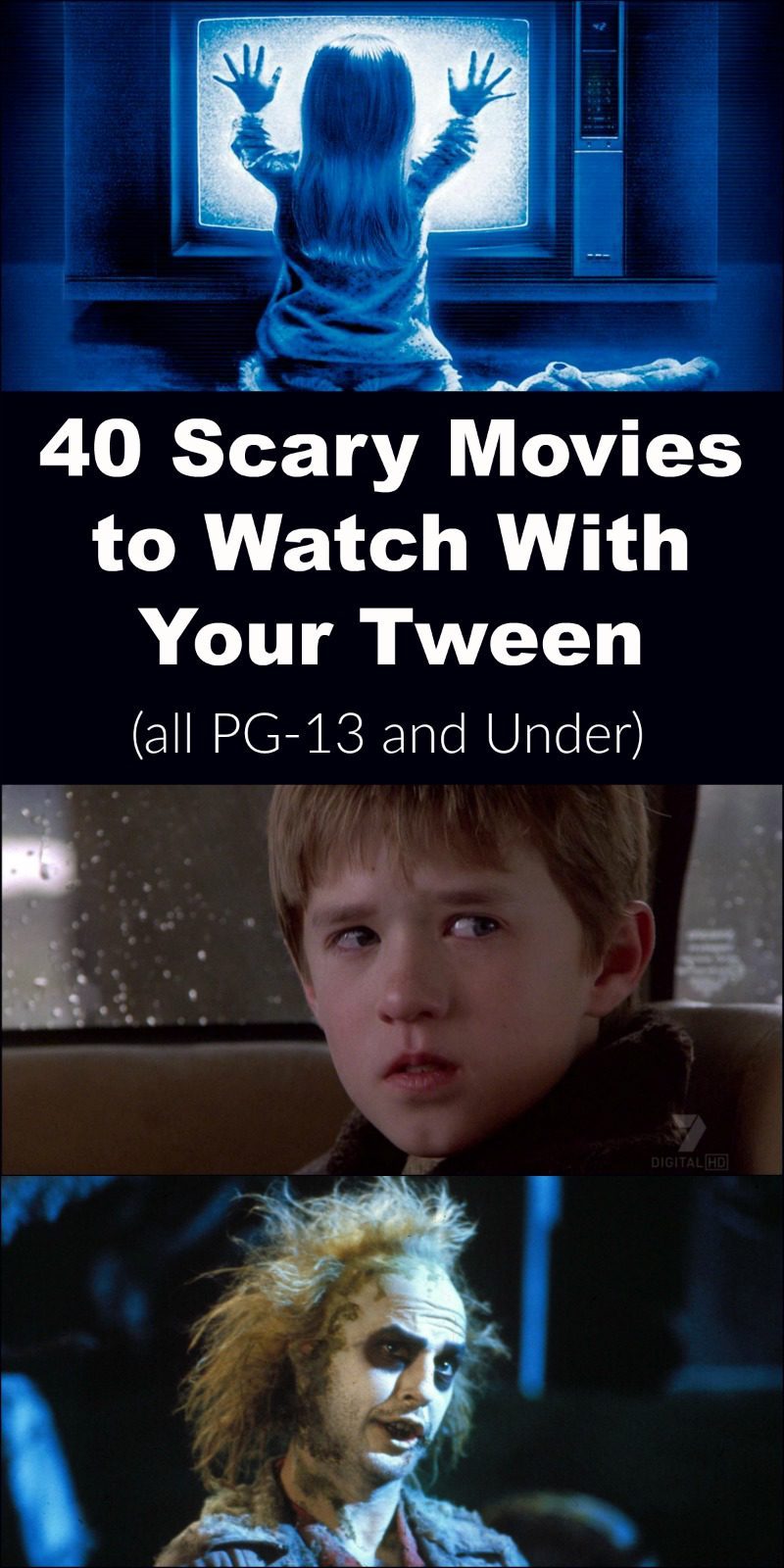 Planning on staying in with your tween this Halloween? Make it a fun family movie night with these 40 scary movies rated PG-13 and under!