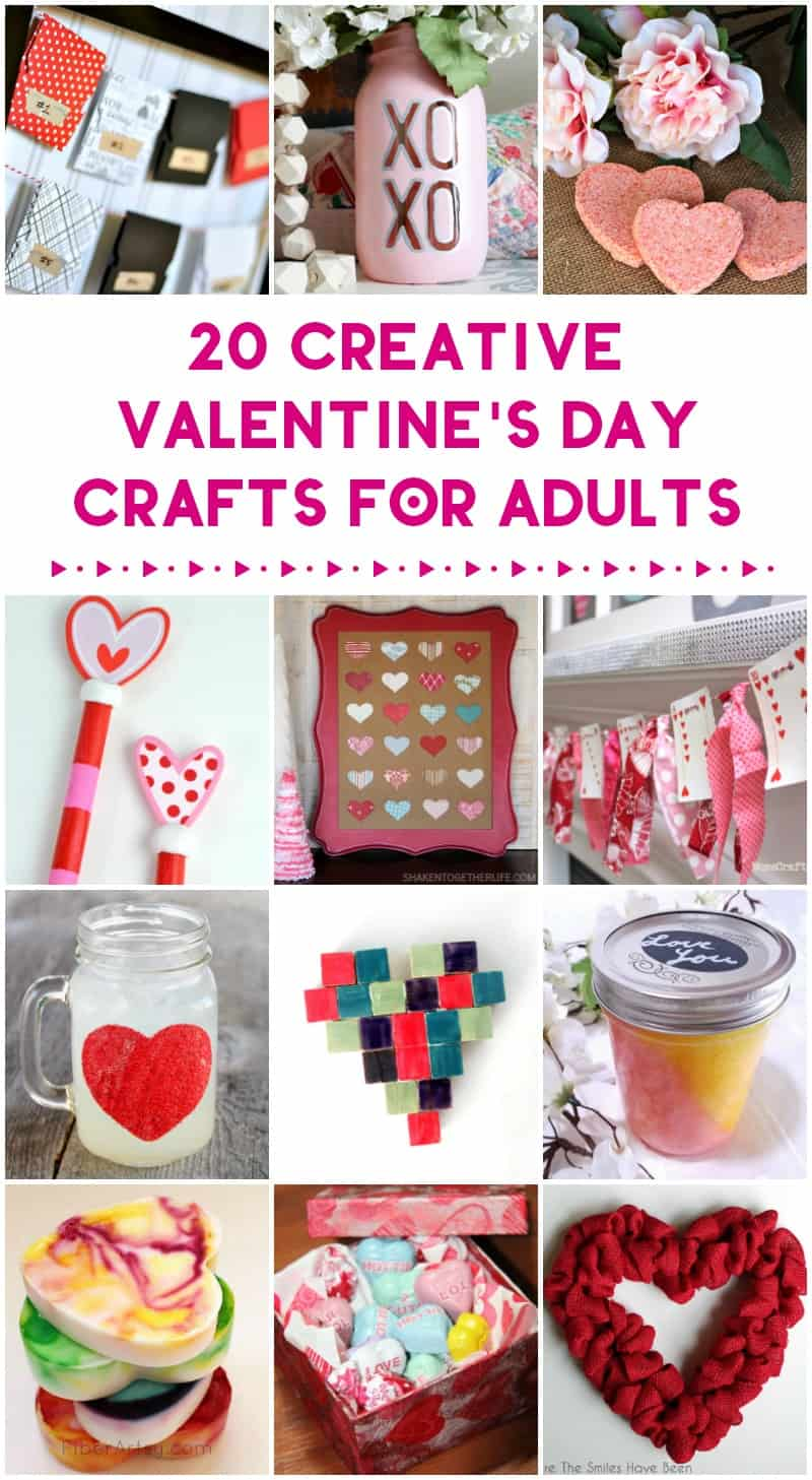 Kids aren\'t the only ones who can get crafty for Valentine\'s Day! Spend this weekend whipping up some cute home decor or making gifts from the heart with these 20 Valentine\'s Day crafts for adults! With these ideas, you can make something for everyone on your list. Check them out!