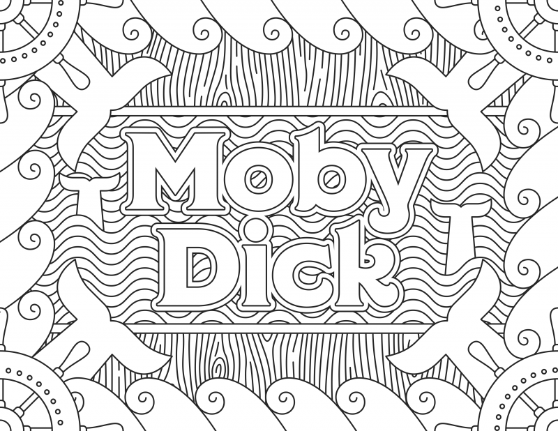 Moby Dick Grab 6 FREE Printable Adult Coloring Pages Inspired by Your Favorite Books!