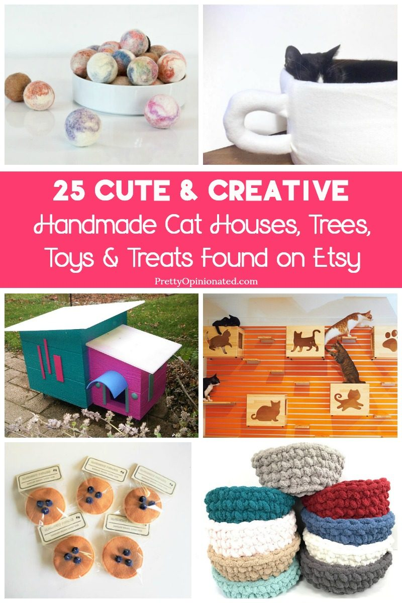 Give your cat a one-of-a-kind gift and support small businesses at the same time with these clever homemade cat items from Etsy! From gorgeous cat houses to tasty treats, you'll find the perfect gift for your kitty!
