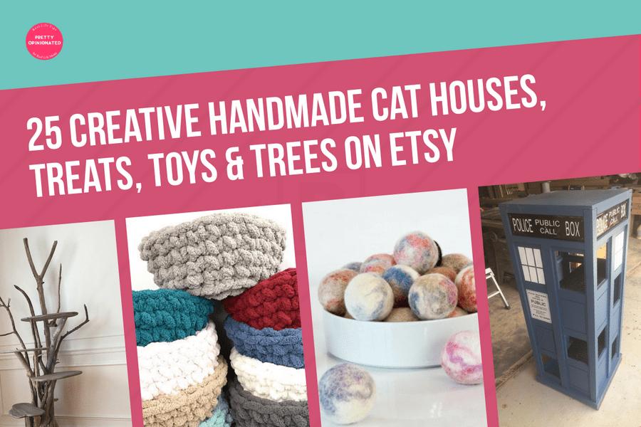25 Cute & Creative Handmade Cat Houses, Trees, Toys & Treats Found on Etsy