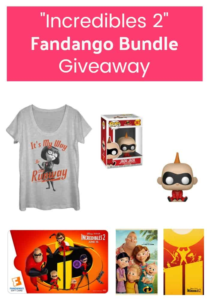 Celebrate the release of Incredibles 2 with an epic Fandango bundle giveaway! Includes Fandango gift card & fun Incredibles 2 merch! Enter now, 3 WINNERS!  Ends June 27, 2018.