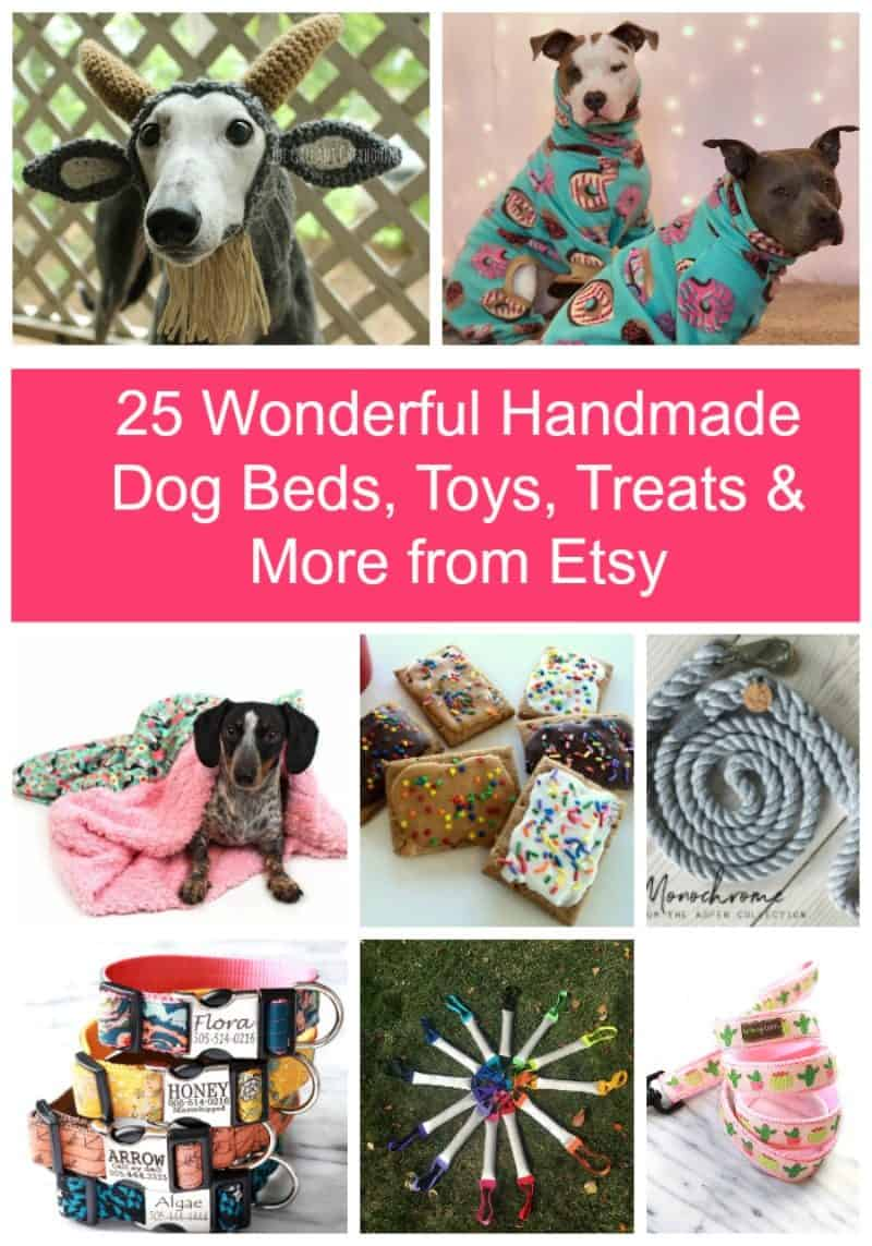 "Treat Fido to something special while supporting small businesses with these fabulous homemade dog beds, toys, treat and more from Etsy! They're perfect for celebrating ""gotcha day,"" welcoming home a new pup, or just because!"