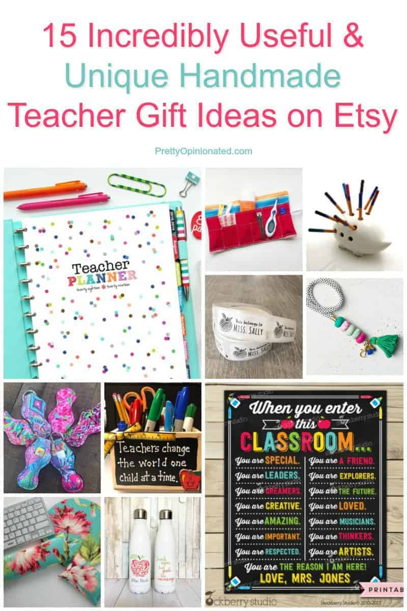 love buying from Etsy! I can give handmade without actually making it myself, which is great since I have the crafting talent of a puppy! Check out these 25 fabulous & useful handmade teacher gift ideas that I love!