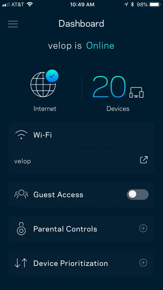 Linksys Velop App Dashboard