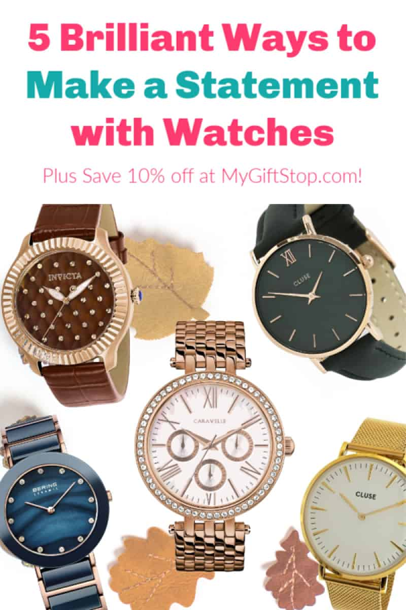 Looking for a statement piece for your fall wardrobe that\'s actually practical? Why not treat yourself to a new watch? Check out my favorites, plus find out how you can save 10% off your entire order sitewide at MyGiftStop.com!