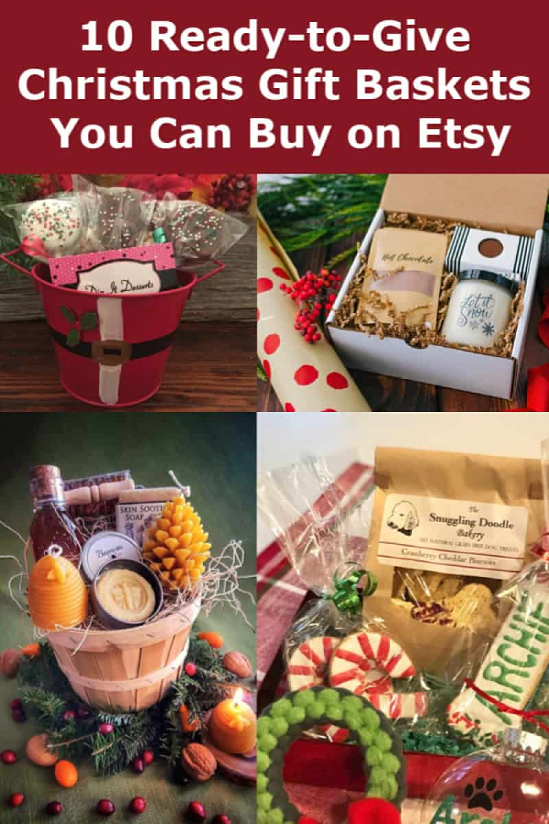 Looking for fabulous Christmas gift baskets that are all ready for giving? Check out these fantastic baskets on Etsy! They\'re perfect for everyone from your in-laws to your boss to your best friend. They also make great last-minute Christmas gifts, as you can send them directly to your recipient.