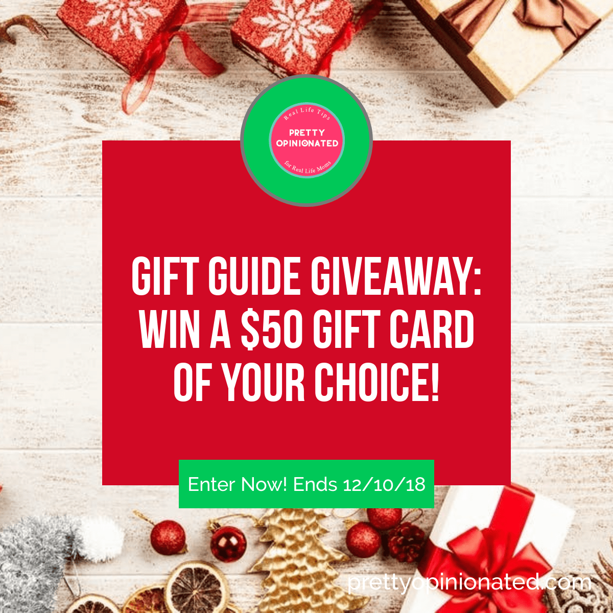 Kick off the holiday shopping season with a fun giveaway! Enter for a chance to win a $50 gift card to any store of your choice! Check it out! Ends 12/10/18. Good luck!