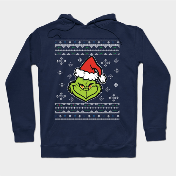 Dr Seuss The Grinch Christmas Knit Pattern Hoodie