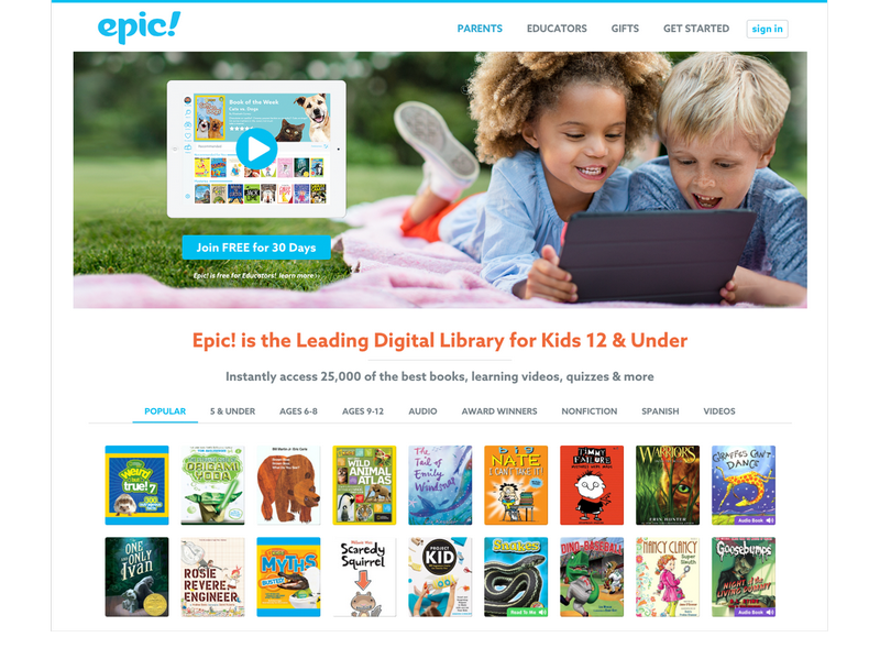 """Epic Homepage Give Kids an """"Epic!"""" Gift of Reading That Keeps Giving All Year Long (Great Last-Minute Gift Idea)"""