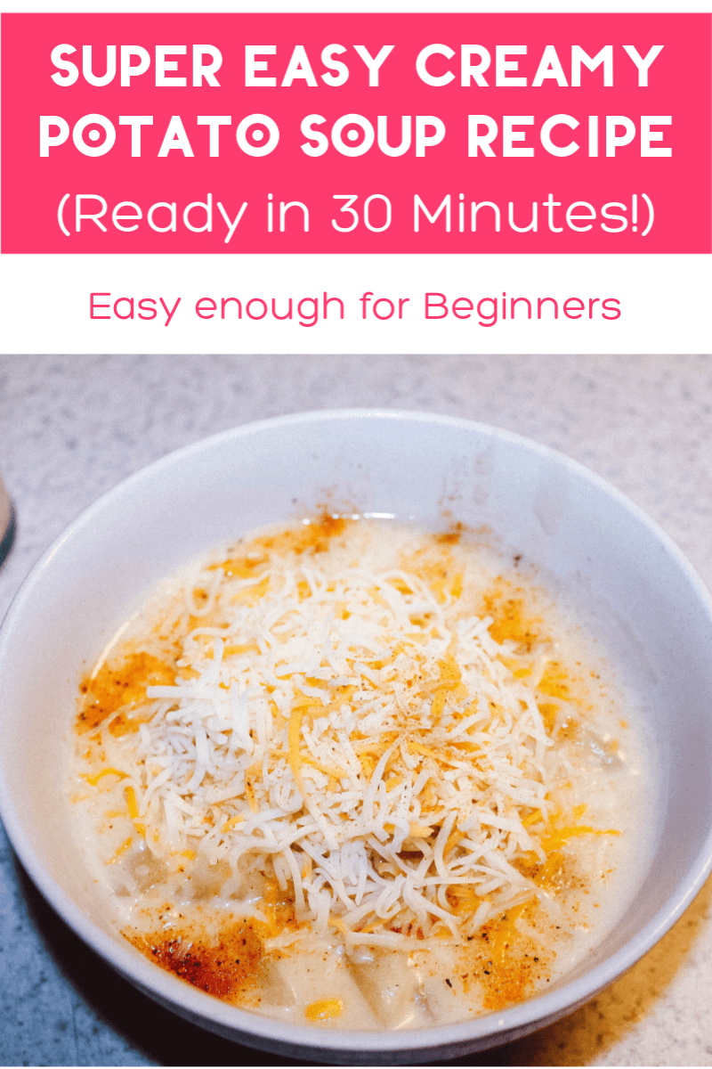 I\'m loving this easy creamy potato and corn soup recipe! Takes 30 minutes to make and it\'s easy enough for newbie cooks! Check it out!