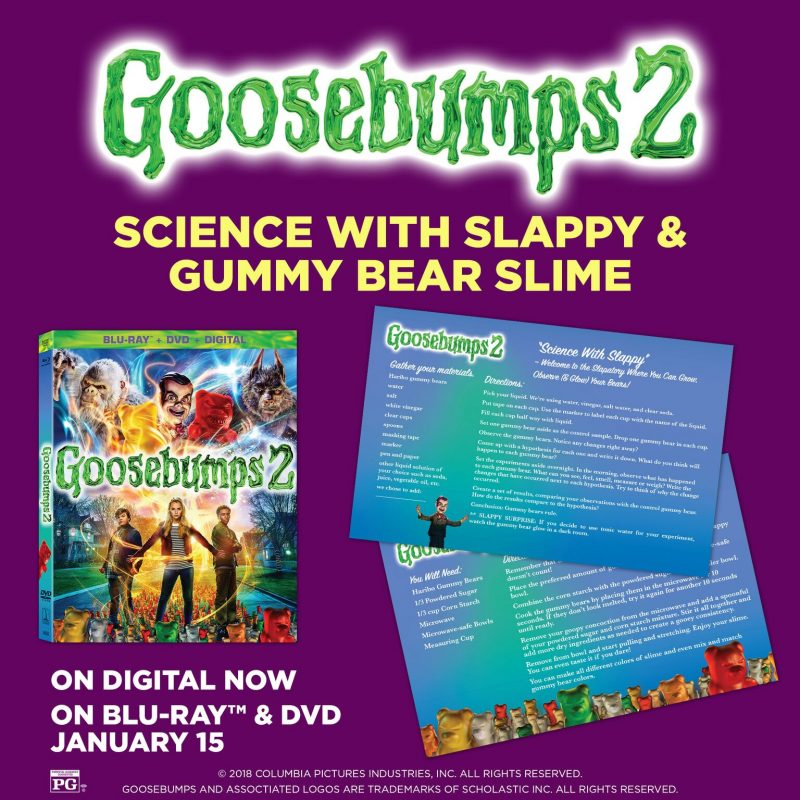 Looking for something fun to do with the kids this weekend? Celebrate the upcoming release of Goosebumps 2 on Blu-ray and DVD by making your own gummy bear slime! Plus, check out other great movie-inspired activities to do together!