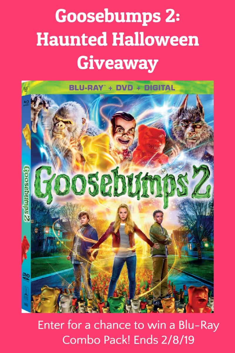 Enter  for a chance to win a Blu-Ray Combo Pack copy of Goosebumps 2: Haunted Halloween! Giveaway is open to US residents age 18+ and ends on February 8th. Good luck!
