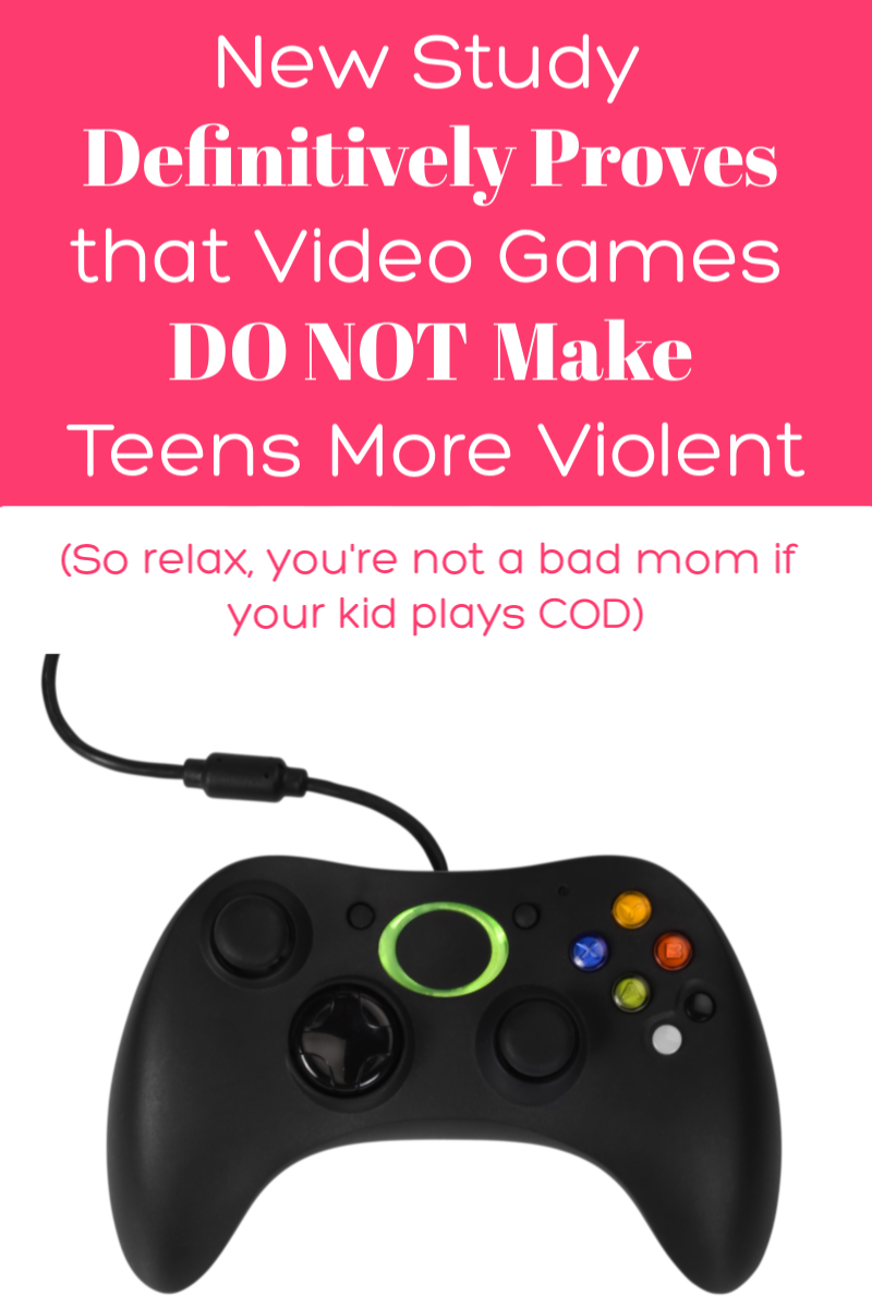 Good news for parents of gamers: a definitive study proves once and for all that video games DO NOT make your kids more violent. So you can relax, you're not a bad mom if your kid plays COD!