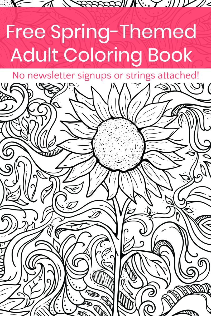 Guess what I made just for you? A spring-themed adult coloring book! It's totally free (no strings attached), so grab it and print it out now!